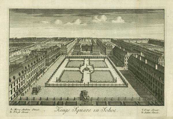 A view of Soho Square from the 17th century